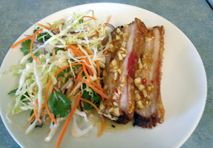 Chinese Style Crispy Roast Pork with Sticky Macadamia Sauce