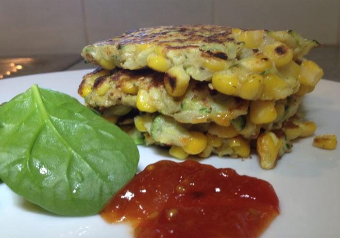 Corn & zucchini fritters with macadamia dukkah